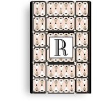 1920s Pink Champagne Gatsby Monogram letter R Canvas Print