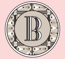 1920s Pink Champagne Gatsby Monogram letter B Kids Clothes
