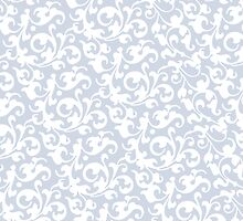 Soft Gray Blue Damask by AntiqueImages