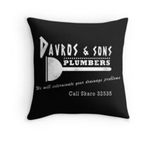 Davros and sons, plumbers... (aged) Throw Pillow