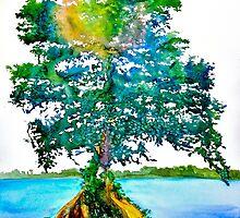 Cypress Tree by Daniel Adams by danieladamsart