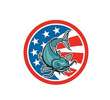 Catfish Swimming American Flag Circle Cartoon by patrimonio