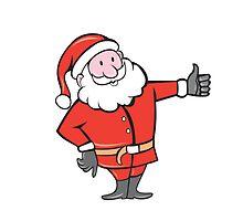 Santa Claus Father Christmas Thumbs Up Cartoon by patrimonio