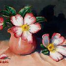 Camellias And Tea Jug II by Margaret Stockdale