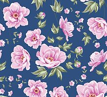 Elegant seamless peony pattern on blue background by Kotkoa