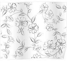 Elegant monochrome flowers fabric. Poster