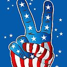 American Patriotic Victory Peace Hand Fingers Sign iPhone Case / iPad Case / T-Shirt / Samsung Galaxy Cases  / Pillow / Tote Bag / Prints / Duvet by CroDesign
