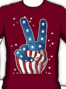 American Patriotic Victory Peace Hand Fingers Sign iPhone Case / iPad Case / T-Shirt / Samsung Galaxy Cases  / Pillow / Tote Bag / Prints / Duvet T-Shirt