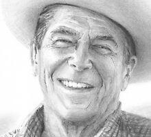 Ronald Reagan cowboy drawing closeup by Mike Theuer