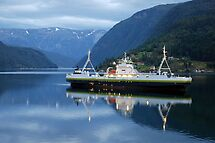 Fjord ferry by night by Arie Koene