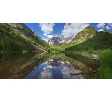 Maroon Bells Images - Panorama of the Bells on a Summer Morning Photographic Print