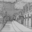255 - GUTTER HILL SEEN FROM JOHNSTOWN - DAVE EDWARDS - INK - 2014 by BLYTHART