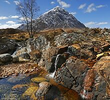 Coupall Cascades and Buachaille Etive Mor by Martin Lawrence