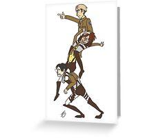 Levi, Hanji, and Erwin Tower - Attack On Titan Greeting Card
