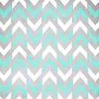 Teal & White Herringbone Chevron Pattern by Tangerine-Tane