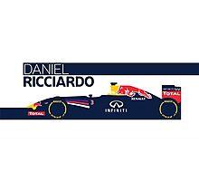 2014 Formula 1 RedBull Daniel Ricciardo Race Car Photographic Print