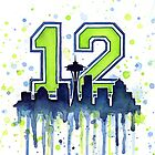 Seattle Seahawks 12th Man Fan Art by OlechkaDesign