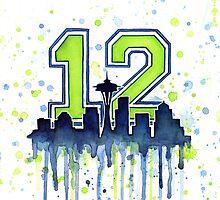Seattle Seahawks 12th Man Fan Art by OlechkaDesign