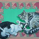 Two Cats (Beloved cats of the artist, Minou and Piaf) by M. E.  Bilisnansky McMorrow
