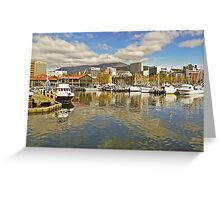 Fishermans Wharf and Hobart cityscape Greeting Card