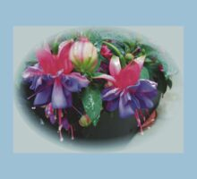 Raindrops on Fuchsia Bells and Buds - Framed Vignette Kids Clothes