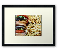 All American Cheeseburgers And Fries Framed Print