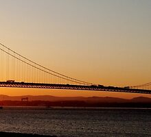 Sunset under the Forth Road Bridge by Lesleymc77