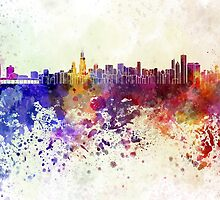 Chicago skyline in watercolor background by paulrommer