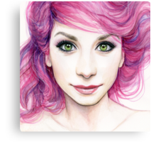 Beautiful Girl with Magenta Hair Canvas Print