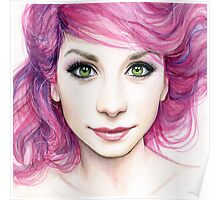 Beautiful Girl with Magenta Hair Poster
