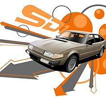 T-shirt 'Explosion' Rover SD1 V8 by RJWautographics