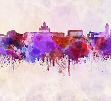 Helsinki skyline in watercolor background by paulrommer