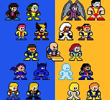 8-bit Blue and Gold X-Men by groundhog7s