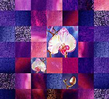 Orchids And Squares Decorative Design by Irina Sztukowski