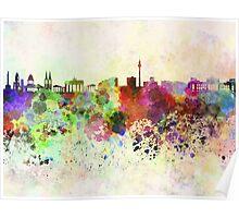 Berlin skyline in watercolor background Poster