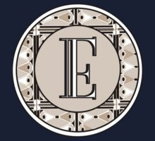 1920s Pink Champagne Gatsby Monogram letter E Kids Clothes