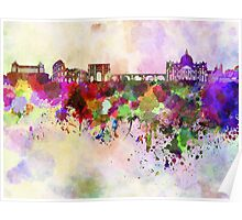 Rome skyline in watercolor background Poster