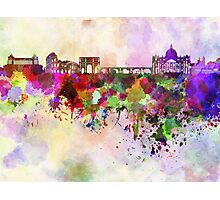 Rome skyline in watercolor background Photographic Print