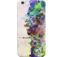 Shanghai skyline in watercolor background iPhone Case/Skin