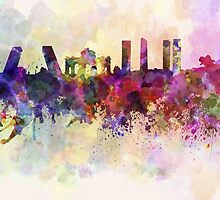 Madrid skyline in watercolor background by paulrommer