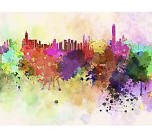 Hong Kong skyline in watercolor background Photographic Print