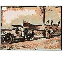 A digital painting of a German aeroplane being transported 1915 WW1 Photographic Print