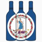 Wine Bottles with Virginia State Flag (VA Wine) by canossagraphics