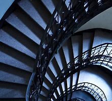 Half spiral stairs in blue by JBlaminsky
