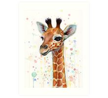 Baby Giraffe Watercolor Painting Art Print