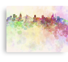 Sao Paulo skyline in watercolor background Canvas Print