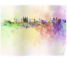 London skyline in watercolor background Poster