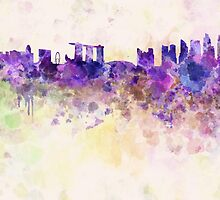 Singapore skyline in watercolor background by paulrommer