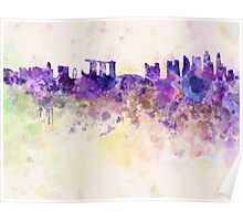 Singapore skyline in watercolor background Poster
