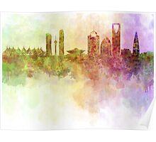 Riyadh skyline in watercolour background  Poster